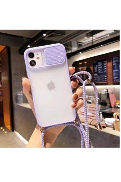 Iphone 11 Sürgülü Kamera Korumalı Boyun Askılı Ipli Kılıf Lila