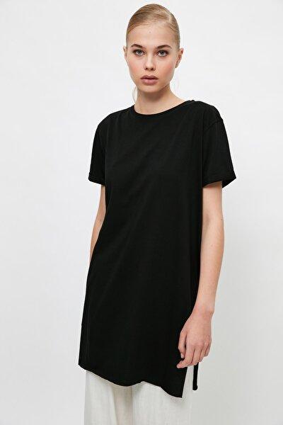Siyah Basic Kısa kollu Yırtmaçlı Süprem Tesettür T-Shirt TCTSS21TN0056