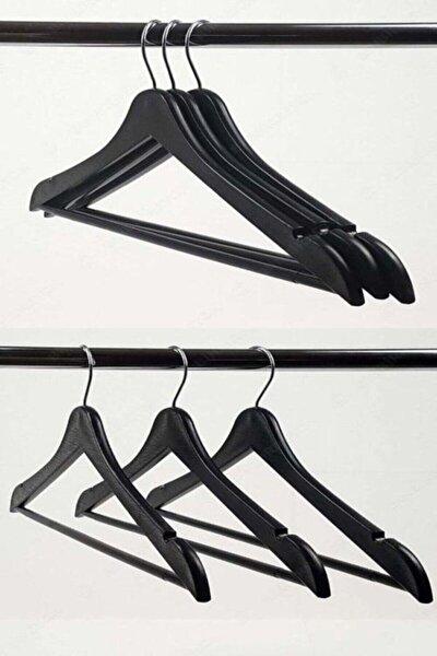Gülşahhome 12 Adet Siyah Ahşap Görünümlü Elbise Askısı 12 Adet