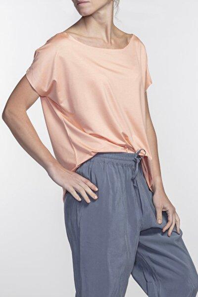 Eileen Kayık Yaka Viskon Pudra Rengi Basic T-shirt