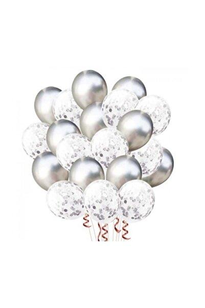 Gümüş Konfetili Balon Seti - 20 Adet