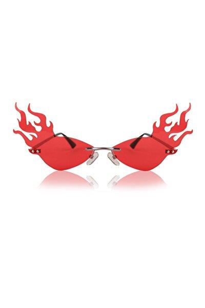 Kırmızı Gözlük Alev Kanatlı Şık Tasarım