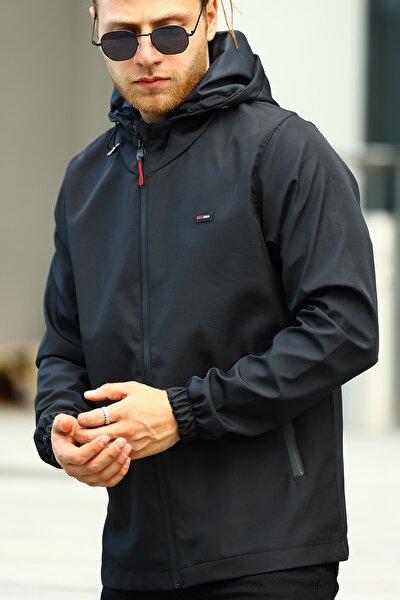 Erkek Siyah İçi Astarlı Suya Dayanıklı Kapüşonlu Cepli Yağmurluk - Rüzgarlık Ceket