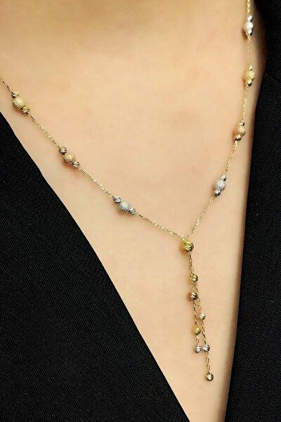 Kadın Dorika Toplu Gümüş Zincir 3 Renk Kolye