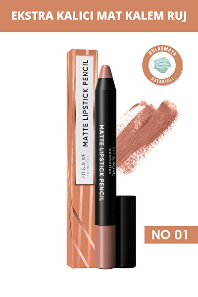 Fitalive 01 Matte Lipstick Pencil Mat Kalem Ruj - Açık Kahve
