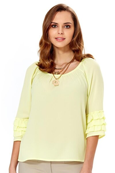 Kadın Açık Fistık Yeşil Yakası Lastikli Kolu Fırfırlı Bluz 018-4022