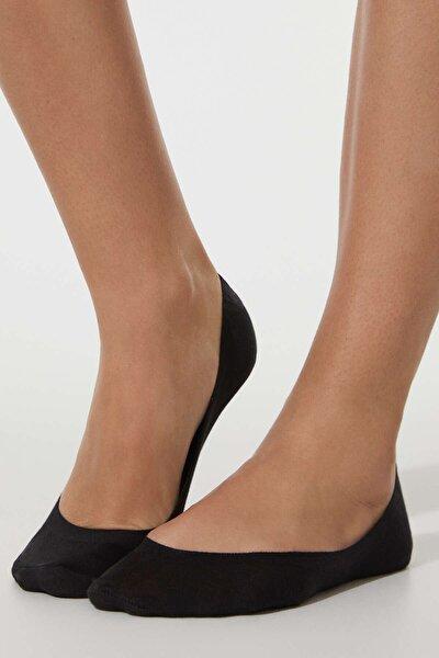 2 Çift Pamuklu Düz Görünmez Çorap
