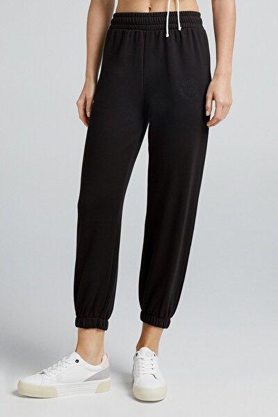 Kadın Siyah Koton Jogging Fit Pantolon