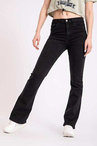 Kadın Yüksek Bel Ispanyol Paça Siyah Flare Jean 2239