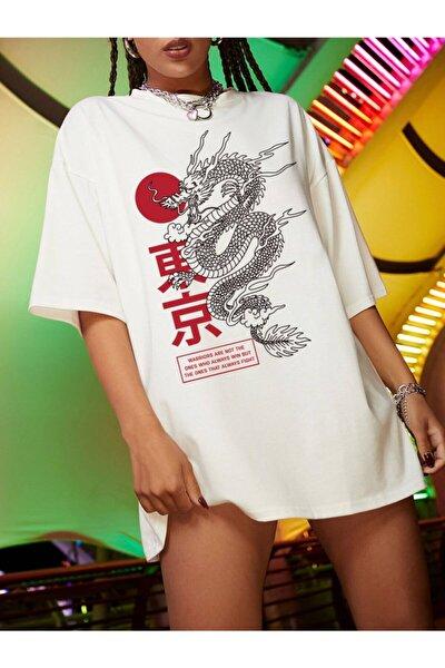 Kadın Beyaz Dragon Ejderha T-shirt
