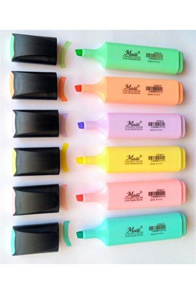 Pastel Renk Fosforlu Işaretleme Kalemi 6 Lı Set