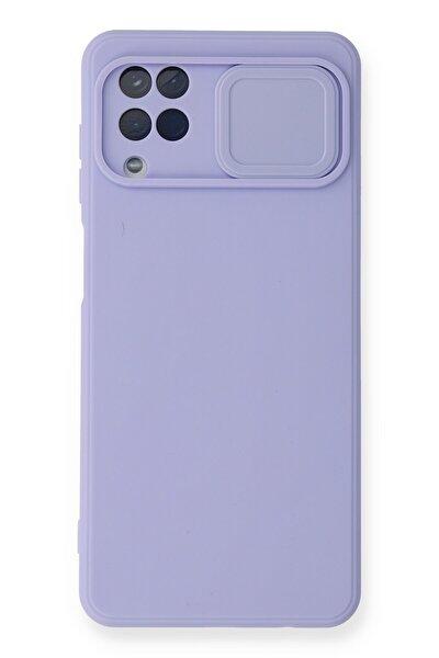 Galaxy A12 Uyumlu Kılıf Color Lens Silikon Grm - Mor