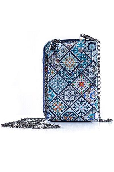 Kadın Çini Desen Ayarlanabilir Askılı Telefonluk Çanta Cüzdan Mavi 12 X 18 Cm