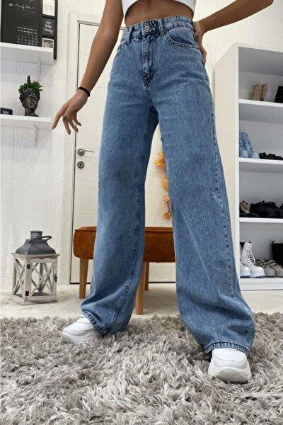 Likralı Mavi Kar Yıkama Süper Yüksek Bel Salaş Jean Pantolon. (süper Yüksek) Wide Leg