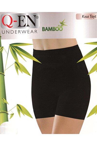 803 Kadın Siyah Ikom Bambu Kısa Sort Tayt