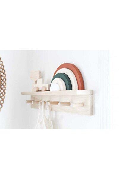 Ahşap Raflı Duvar Askılığı Montessori Askılık