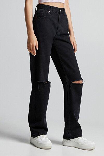 Distressed Yüksek Bel Straight Fit Jean