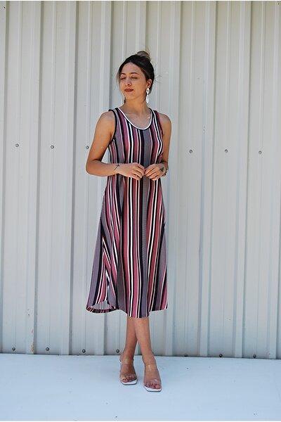 Sırt Dekolteli Askılı Büyük Beden Kadın Yazlık Elbise
