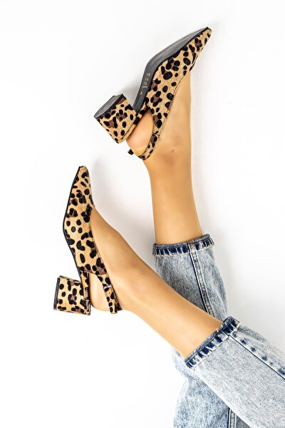 5 Cm Topuklu Bayan Topuklu Ayakkabı-leopar