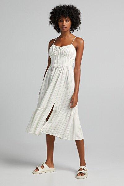 Çizgili Fırfırlı Uzun Keten Elbise