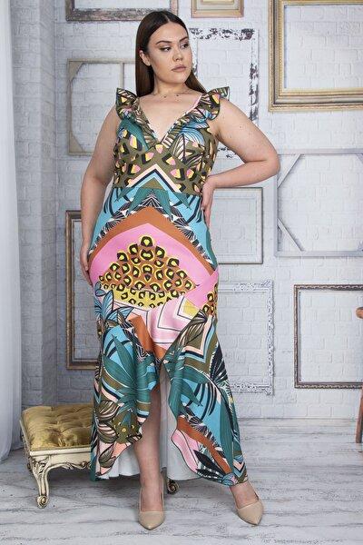 Kadın Renkli Yaka Ve Eteği Volanlı Uzun Elbise 65N26044