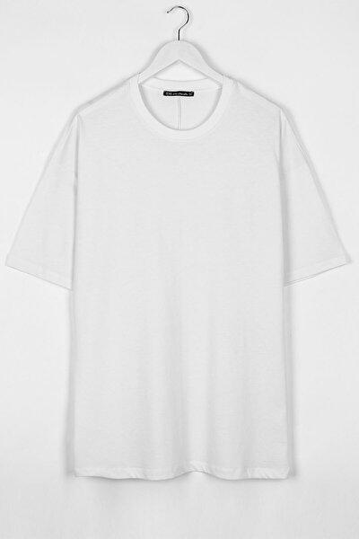 Extra Oversize Basic Beyaz Erkek Tshirt