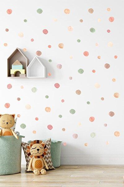 5 Ve 3 Cm Nature Suluboya Puantiye Çocuk Odası Duvar Sticker Seti