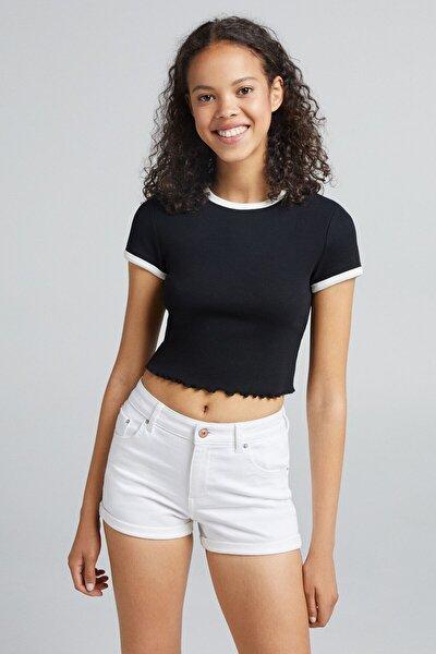 Kontrast Fitilli Kısa Kollu T-shirt