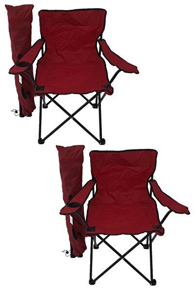2'li Kamp Sandalyesi Piknik Sandalyesi Katlanır Sandalye Taşıma Çantalı Kamp Sandalye Kırmızı