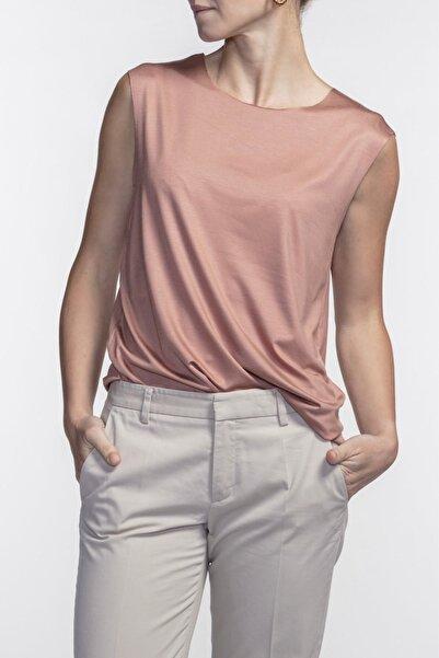 Kadın Harper Terracotta Viskon Kolsuz T-shirt
