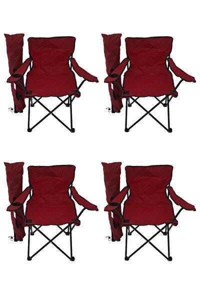 4'lü Kamp Sandalyesi Piknik Sandalyesi Katlanır Sandalye Taşıma Çantalı Kamp Sandalye Kırmızı