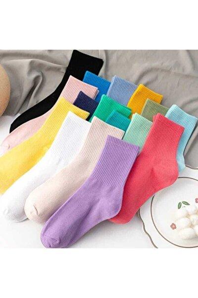 Düz Renkler Cotton Kolej Çorap 10 Çift