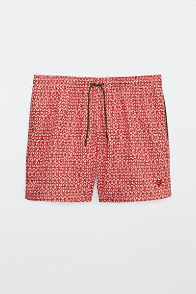 Erkek Kırmızı Üçgen Desenli Deniz Şortu 00317281