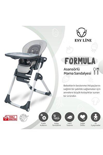 Lüx Katlanır Tekerlekli Bebek Mama Sandalyesi Gri