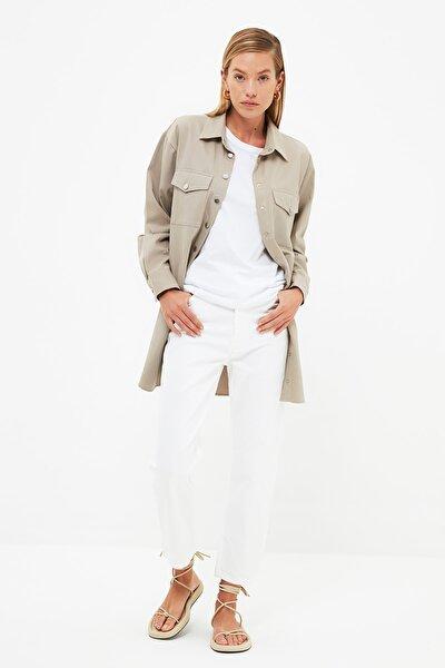 Beyaz Yüksek Belli Straight Jeans TCTSS21JE0801