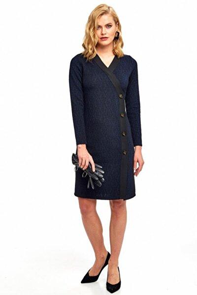 Kadın Lacivert Kruvaze Yaka Siyah Şeritli Düğmeli Elbise