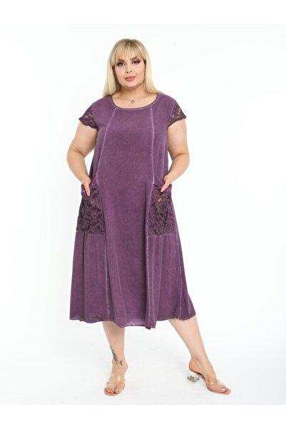 Kadın Mor Büyük Beden Kolu Cebi Güpür Detay Lı Yıkamalı Viskon Elbise