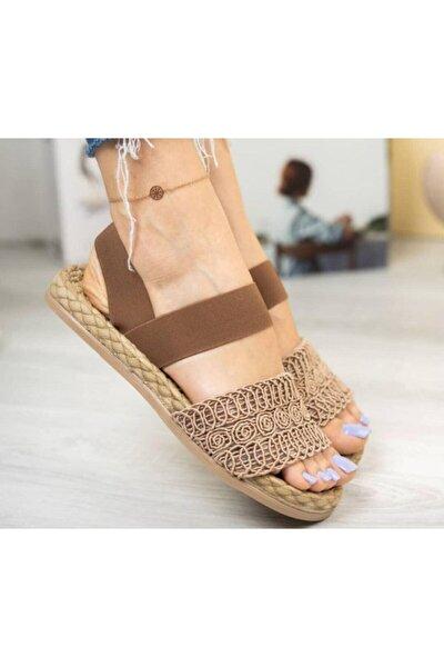 Kadın Kahve Örgü Sandalet 111120