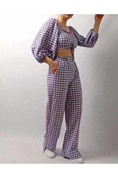 Kadın Piti Kareli Crop Pantolon Takım - Lila - S