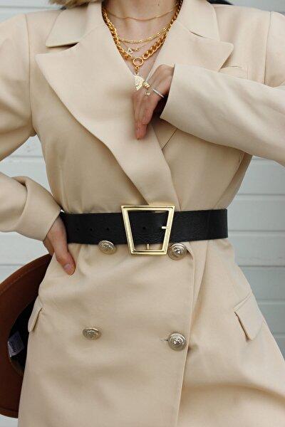 Asimetrik Altın Rengi Toka Retro Tarz Model Bayan Unisex Siyah Kemer