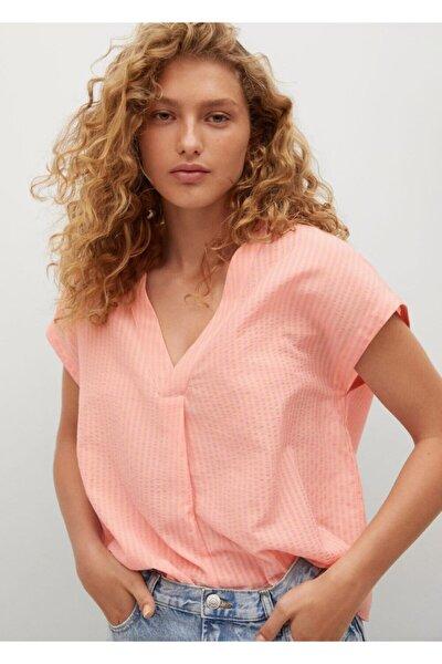Kadın Pastel Pembe Geniş Kesimli Desenli Bluz