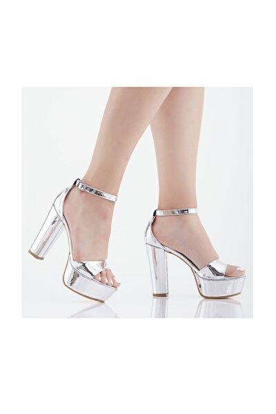 Ayna Bantlı Platform Topuklu Abiye Ayakkabı
