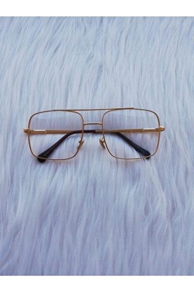 Gold Çerçeve Şeffaf Reynmenunisex Güneş Gözlüğü