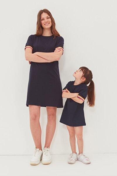 Lacivert Şerit Detaylı Örme  Elbise TWOSS19FV0107