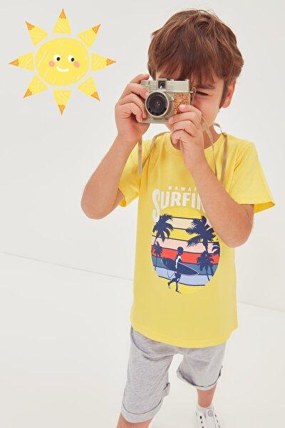Sarı Baskılı Erkek Çocuk Örme Alt-Üst Takım TKDSS21AU0511