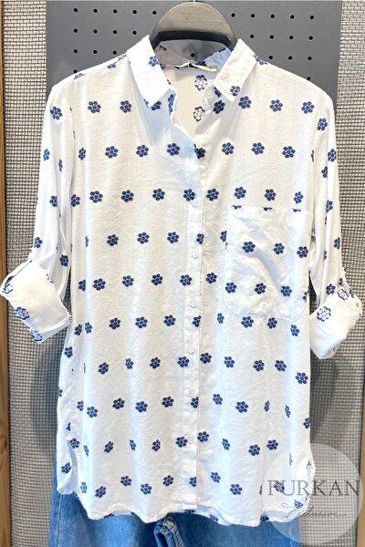 Kadın Beyaz Papatya Nakış İşlemeli Pamuk Gömlek