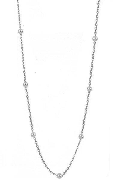 Gümüş Rodyumlu 60 Cm Top Top Zincir