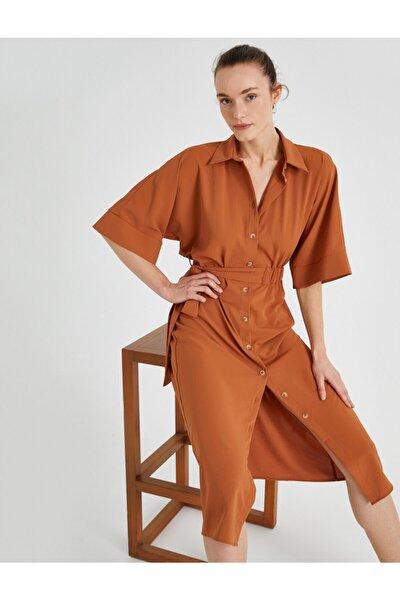 Kadın Gömlek Yaka Elbise Kusakli