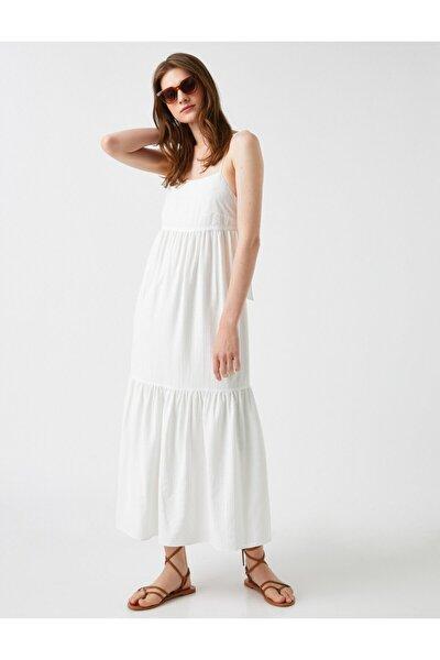 Kadın KIRIK BEYAZ Respect Life - Yasama Saygi | Sahika Ercümen X Ince Askili Elbise Maxi
