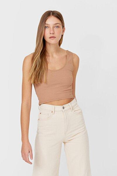 Kadın Bej Askılı Crop T-Shirt